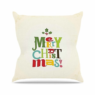 East Urban Home Noonday Design Merry Christmas Outdoor Throw Pillow; 16'' H x 16'' W x 5'' D