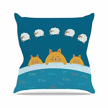 East Urban Home Cristina Bianco Sleeping Cats Zzzz Animals Outdoor Throw Pillow