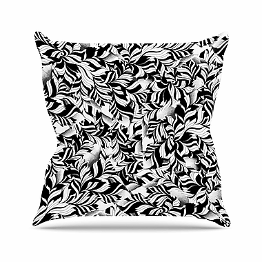 East Urban Home Victoria Krupp Monochrome Leaves Mosaic Nature Outdoor Throw Pillow