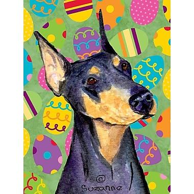 Caroline's Treasures Easter Eggtravaganza 2-Sided Garden Flag; Doberman (Black and Purple)