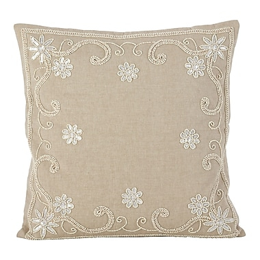 Ophelia & Co. Riley Beaded Sequin Flower Motif Cotton Throw Pillow