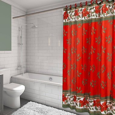 The Holiday Aisle Christmas Floral Resin Shower Curtain Set