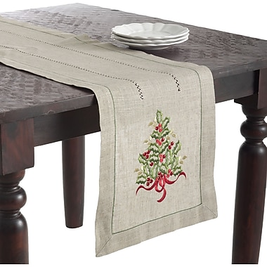 The Holiday Aisle Christmas Tree Design Embroidered Runner