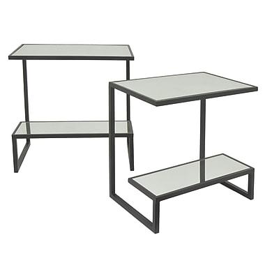 Three Hands Co. Rectangular 2 Tier Metal Mirror Top 2 Piece Nesting Tables; Black
