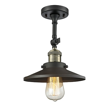 Innovations Lighting Railroad Shade 1-Light Semi Flush Mount; Black/Brushed Brass