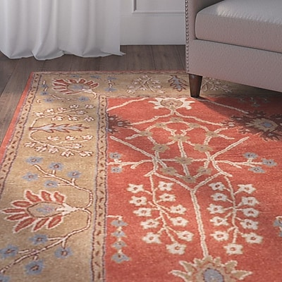 Charlton Home Trinningham Hand-Tufted Orange/Brown Area Rug; 2' x 3'