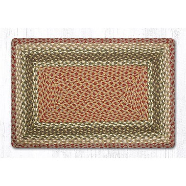 EarthRugs Olive/Burgundy/Gray Braided Area Rug; Rectangle 1'8'' x 2'6''