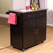 Red Barrel Studio Riffe Large Kitchen Cart w/ Stainless Steel Top; Black