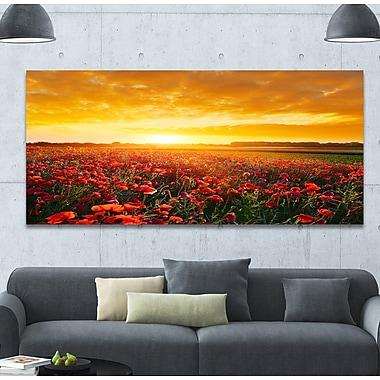 DesignArt 'Poppy Field under Ablaze Sunset' Photographic Print on Wrapped Canvas