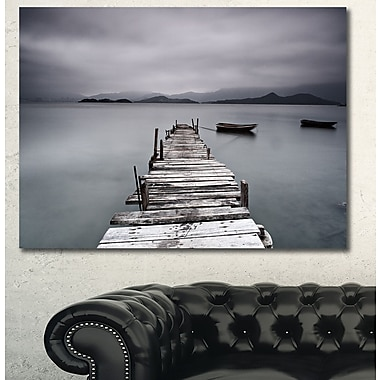 DesignArt 'Pier and Boats at Seashore' Photographic Print on Wrapped Canvas; 30'' H x 40'' W x 1'' D