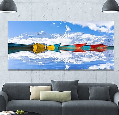 DesignArt 'Moving Colorful Boats in Lake' Graphic Art Print on Wrapped Canvas