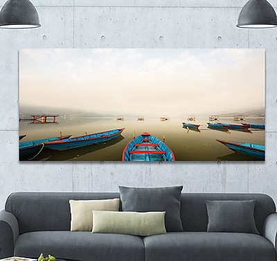 DesignArt 'Moving Boats in Mountain Lake' Photographic Print on Wrapped Canvas