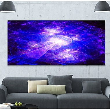 DesignArt 'Bright Blue Fractal Space Theme' Graphic Art Print on Wrapped Canvas