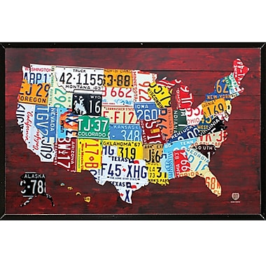 Frame USA 'License Plate Map of the US' Framed Graphic Art Print, Poster