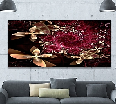 DesignArt 'Yellow and Red Fractal Flower Pattern' Graphic Art Print on Wrapped Canvas