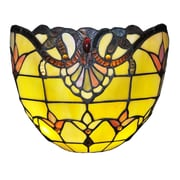 River of Goods Allistar Tiffany Stained Glass Wireless  9-Light LED Half Moon; Amber