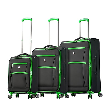 Mia Toro ITALY Piuma Softside Spinner Luggage Set, 3 Piece/Set, Green (M1118-03PC-GRN)
