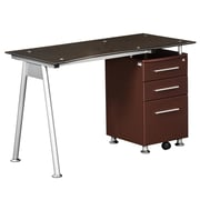 Techni Mobili Stylish Brown Tempered Glass Top Computer Desk with Storage, Chocolate (RTA-1565-CH36)