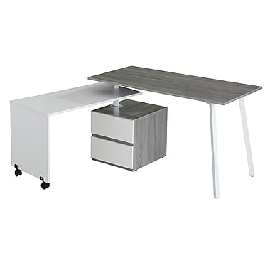 Techni Mobili Rotating Multi-Positional Modern Workstation Desk, Grey (RTA-2336-GRY)