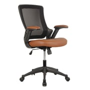 Techni Mobili Mid-Back Mesh Task Office Chair with Height Adjustable Arms, Brown (RTA-8030-BRN)