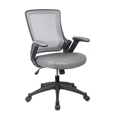 Techni Mobili Mid-Back Mesh Task Office Chair with Height Adjustable Arms, Gray (RTA-8030-GRY)