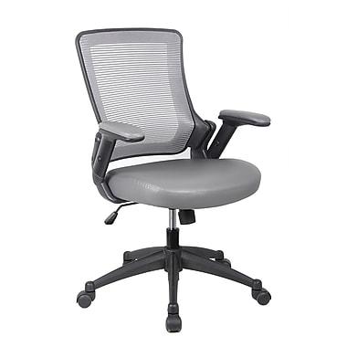 Techni Mobili – Chaise de bureau fonctionnelle à dossier moyen en mailles avec accoudoirs réglables en hauteur. Couleur : Gris