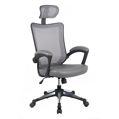 Techni Mobili Mesh Executive Office Chair With Headrest, Gray (RTA-80X3-GRY)