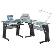 Techni Mobili L-Shaped Tempered Frosted Glass Top Computer Desk with Keyboard Panel, Graphite (RTA-3803-GPH06)