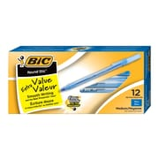 BIC® Round Stic® Ballpoint Pens, 1.0mm, Blue, 12/Pack