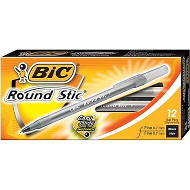 BIC® Round Stic® Extra Value Ballpoint Stick Pens, 0.7mm, Black, 12/Pack