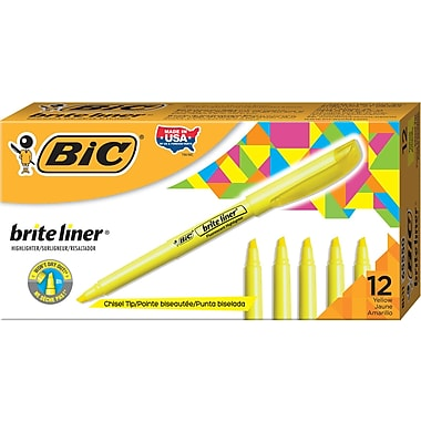 BIC® Brite Liner® Highlighters, Yellow, 12/Pack