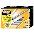 BIC Round Stic Xtra-Life Ballpoint Pen, Medium Point, 1.0mm, Black Ink, 60/Pack (GSM609-BLK)