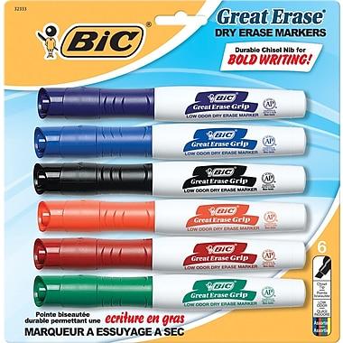 BIC® - Marqueurs Great Erase Grip™ XL à effacement sec, pointe biseautée, couleurs variées, paq./6