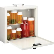 "MMF Standard Steel Medication Case, Combination, Programmable Lock, Wall, Overall Size 9.5"" x 10.8"" x 3.8"", Platinum, Steel"