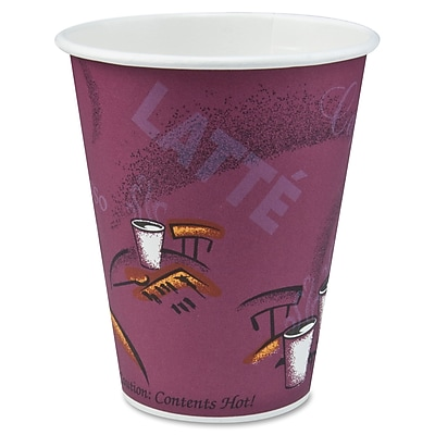 Solo Single Sided Poly Paper Hot Cup, Bistro/Maroon, 10 oz., 1000/Pack 318401
