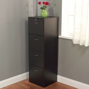Symple Stuff 4 Drawer Filing Cabinet; Black