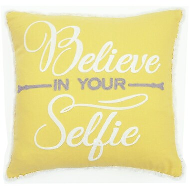 The Balmont Collection ''Believe in Your Selfie'' Cotton Throw Pillow
