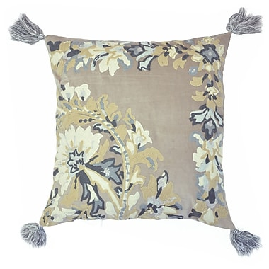 The Balmont Collection Embroidered Chain Stitch Floral Throw Pillow w/ Tassels