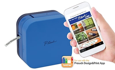 P-touch CUBE Smartphone Dedicated Label Maker with Bluetooth Wireless Technology, Blue