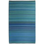 Breakwater Bay Gwendoline Turquoise/Moss Green Cancun Stripe Indoor/Outdoor Area Rug; 6' x 9'