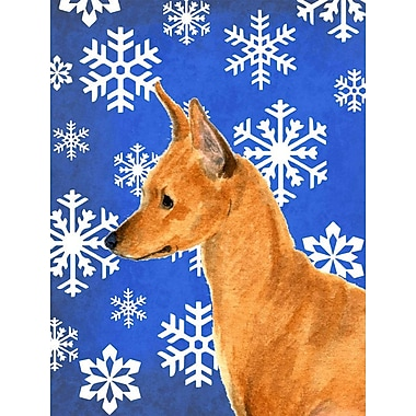 East Urban Home Winter Snowflakes Holiday House Vertical Flag; Min Pin (Brown)