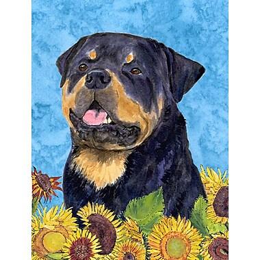 East Urban Home Dog and Sunflower House Vertical Flag; Rottweiler