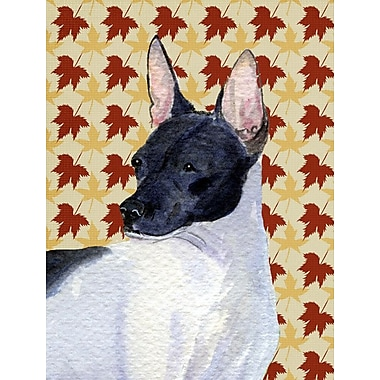 East Urban Home Fall Leaves House Vertical Flag; Rat Terrier