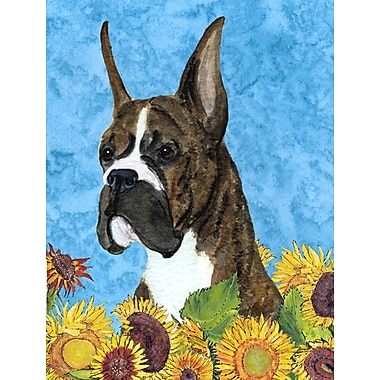 East Urban Home Dog and Sunflower House Vertical Flag; Boxer 1