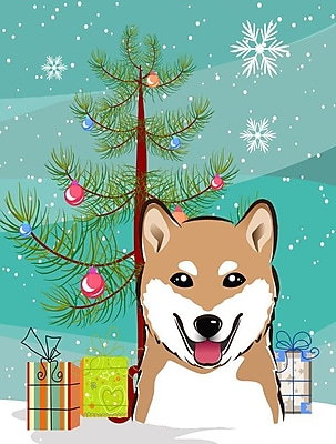 Caroline's Treasures Under The Christmas Tree Vertical Flag; Shiba Inu