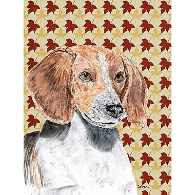 Caroline's Treasures Fall Leaves 2-Sided Garden Flag; English Foxhound