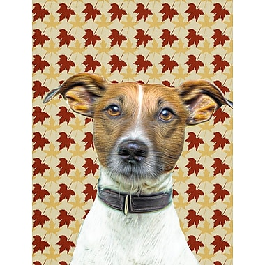 Caroline's Treasures Fall Leaves 2-Sided Garden Flag; Jack Russell Terrier (Brown and White)