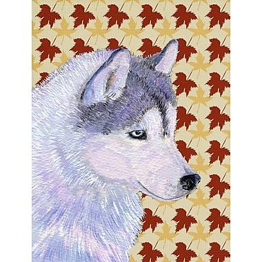 Caroline's Treasures Fall Leaves 2-Sided Garden Flag; Siberian Husky