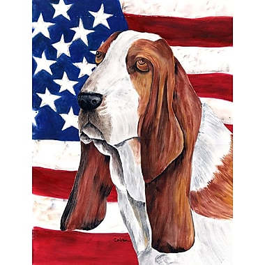 Caroline's Treasures American Flag 2-Sided Garden Flag; Basset Hound 1