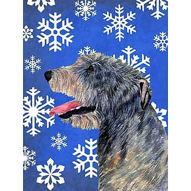 East Urban Home Winter Snowflakes Holiday 2-Sided Garden Flag; Irish Wolfhound